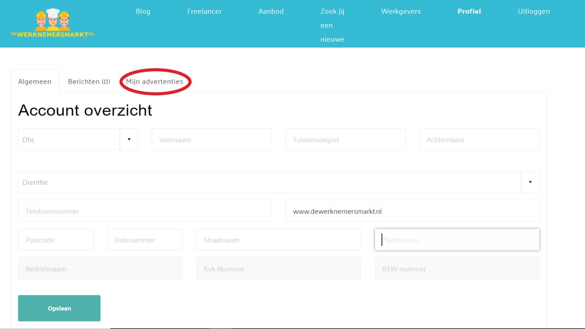 account overzicht op dewerknemersmarkt.nl